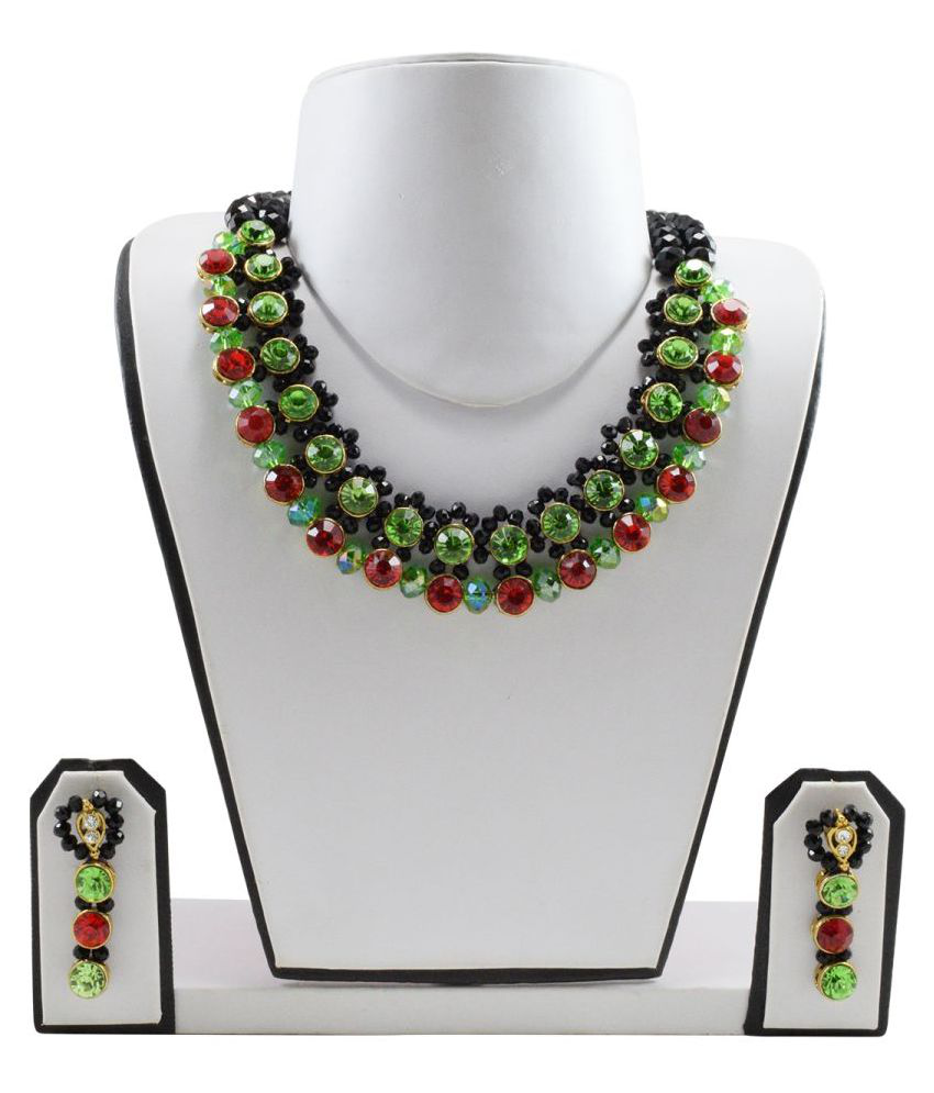 FashionValley Designer Beads Kundan Necklace Set with Earrings for Women