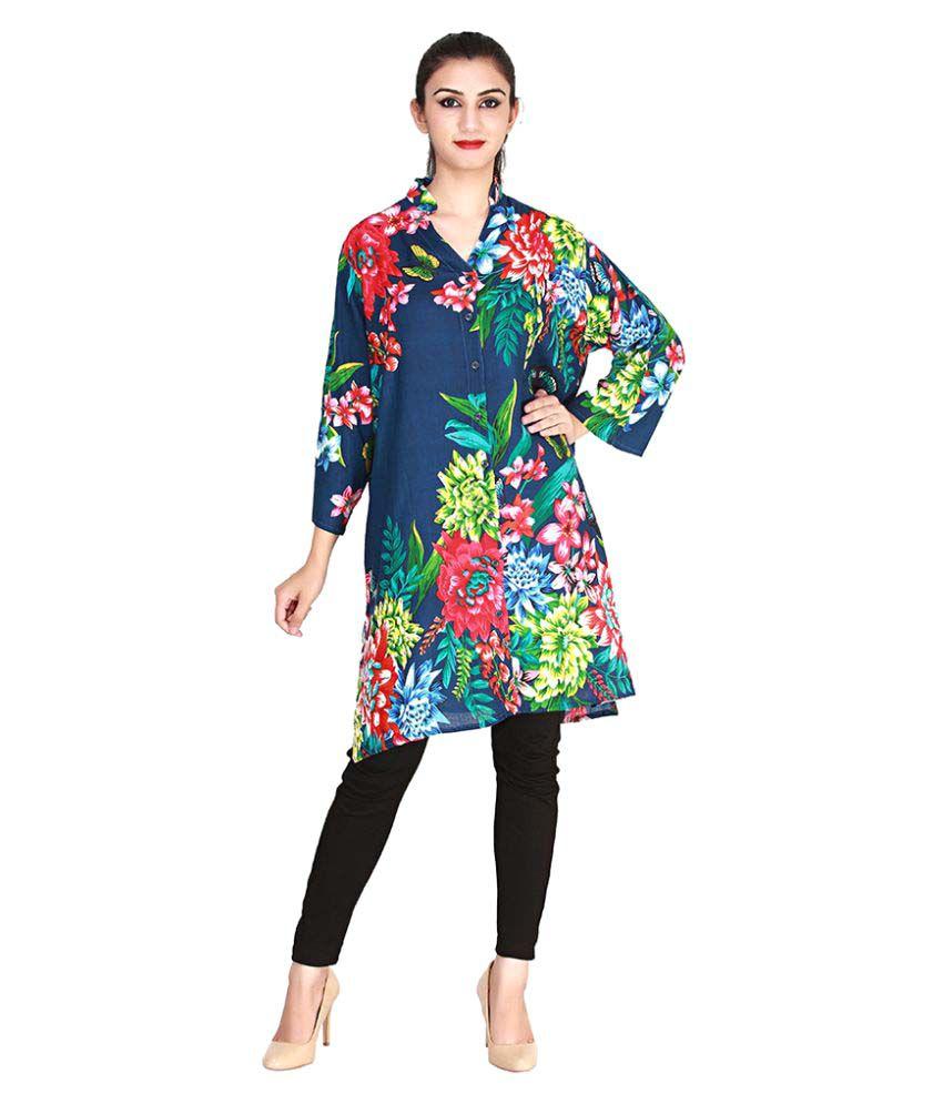 Gunjan Exports Multicoloured Rayon A-line Kurti