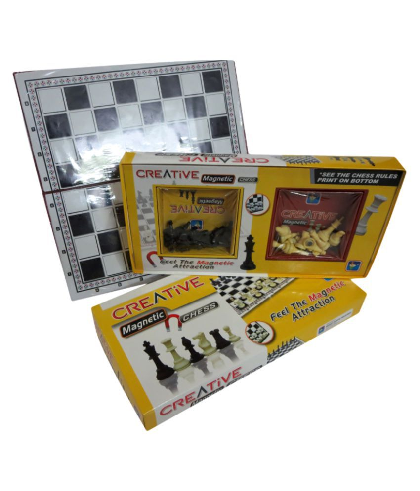 Little Genius Foldable Black & White Set With Plastic Staunton Pieces Chess