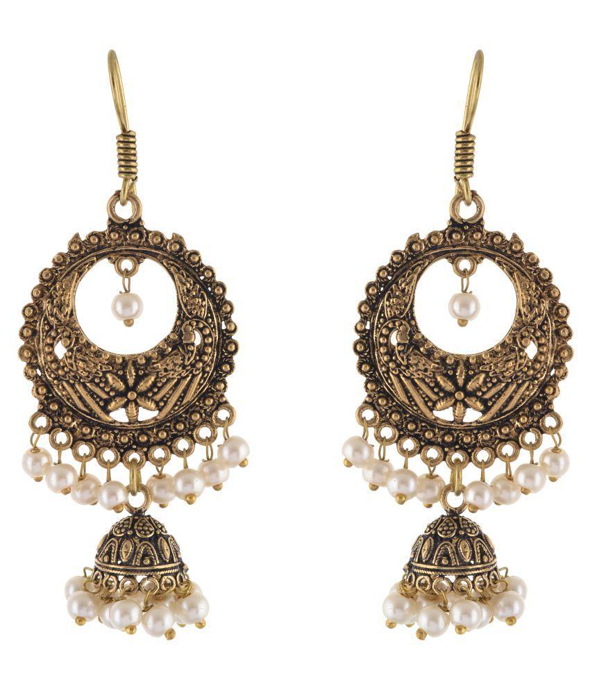 SAADGI Bollywood Style German Silver Jhumki Earrings for Wedding & Festival