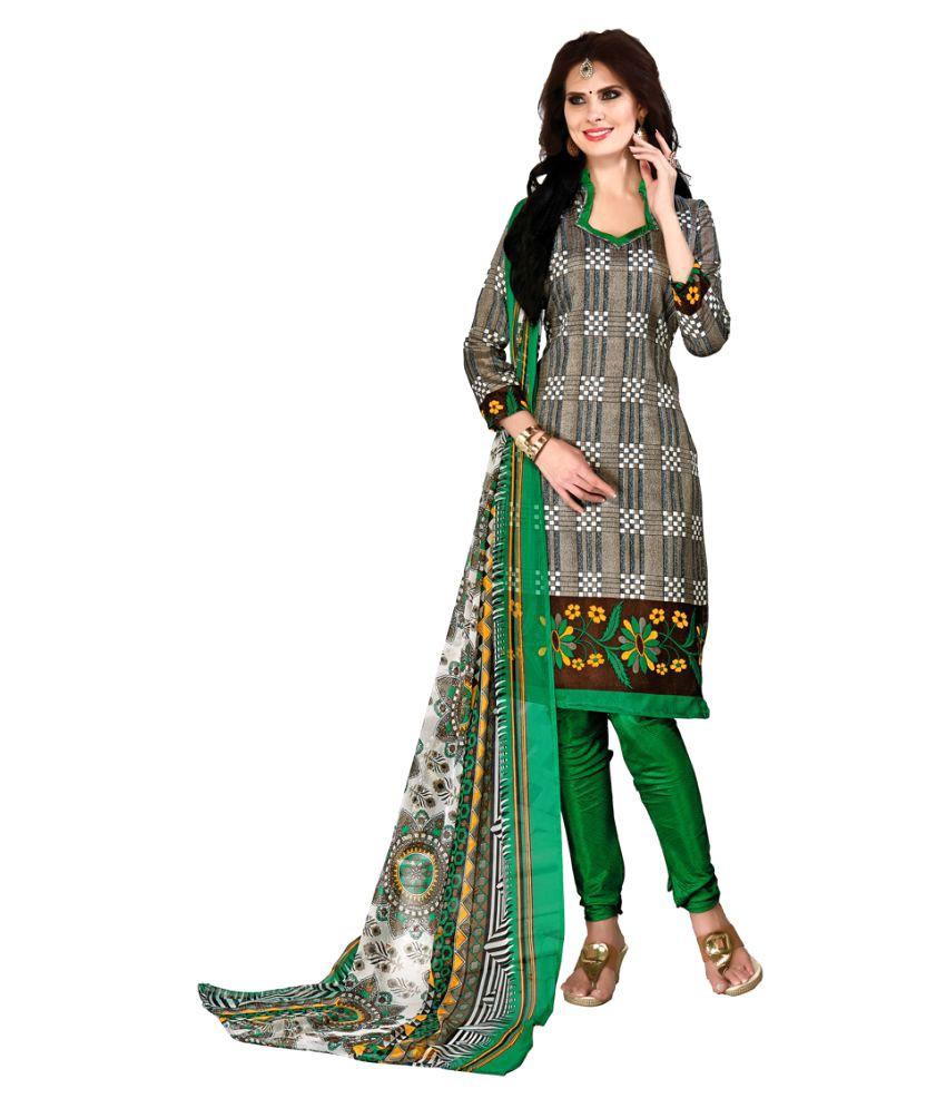Snowfall Multicoloured Bhagalpuri Silk Dress Material