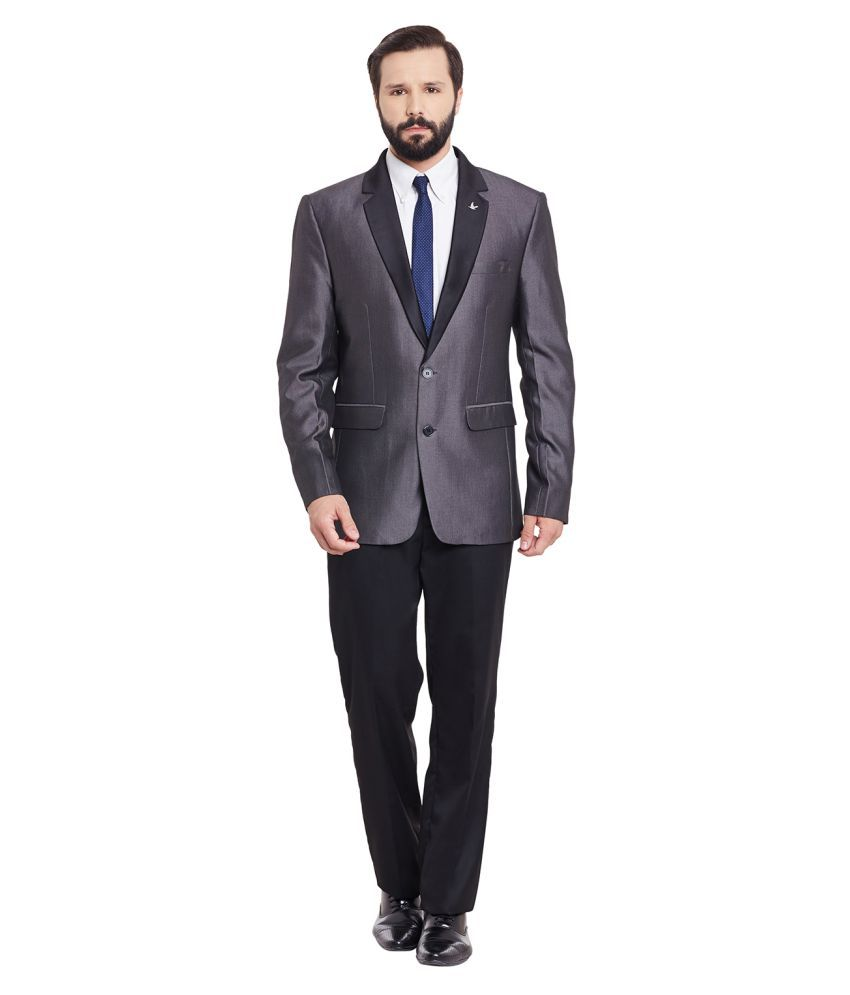 Canary London Grey Solid Formal 2 Piece Suits