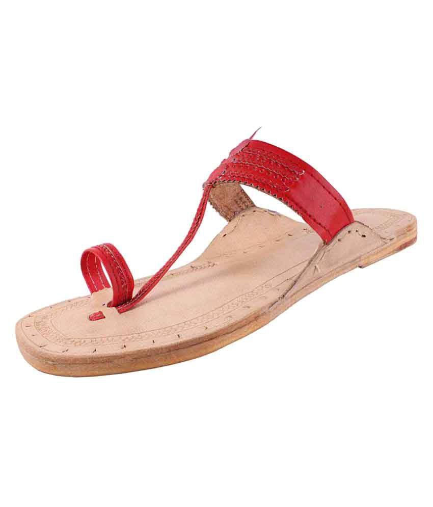 Sushito Red Flat Ethnic Footwear