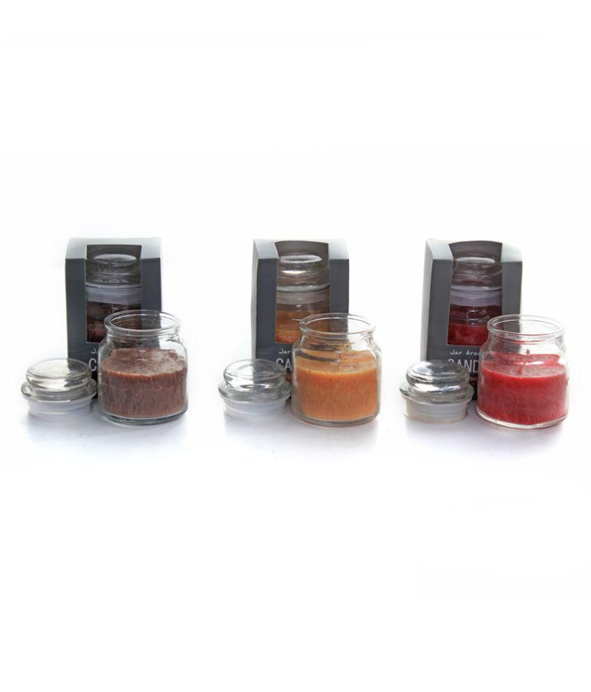 Deco Aro Red, Orange & Maroon Aromatic Jar Candle Pack of 3