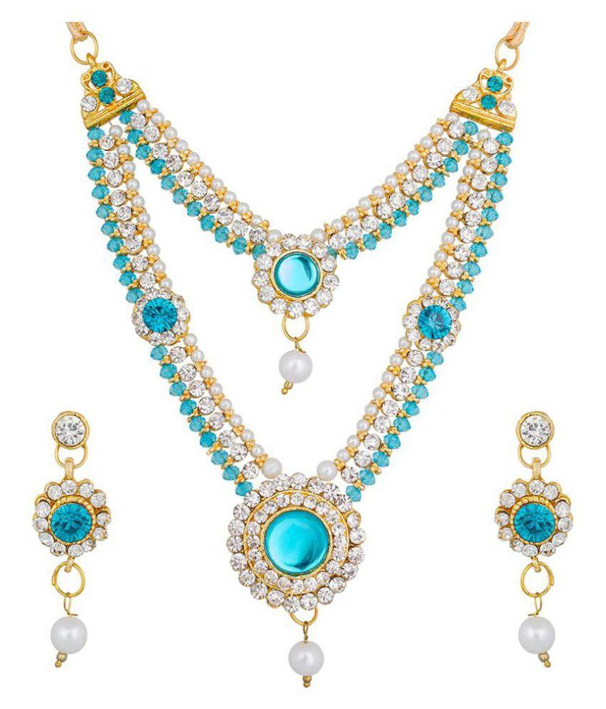 The Luxor Gold Plated Kundan, Pearl & Australian Diamond Studded Sky Blue Colored Necklace Set NK-1939