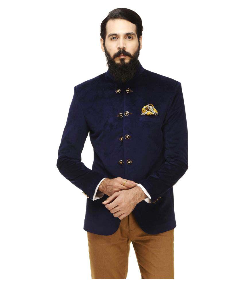 Monteil & Munero Navy Solid Casual Blazers