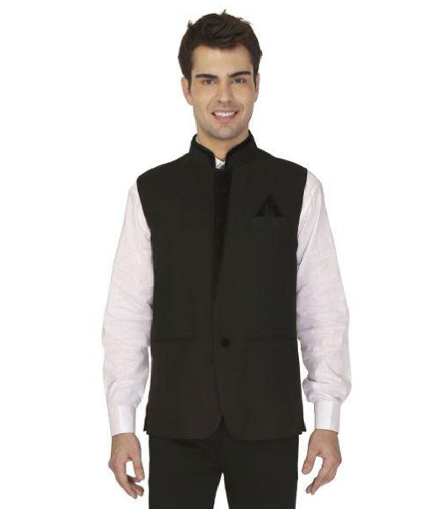 Veera Paridhaan Black Solid Formal Jackets