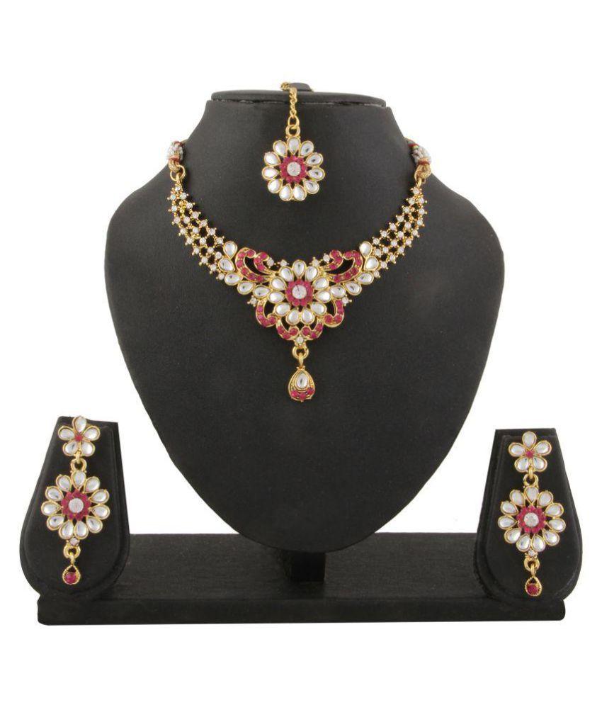 Adoreva Multicolour Kundan Necklace Earrings Maang Tika Set for Women