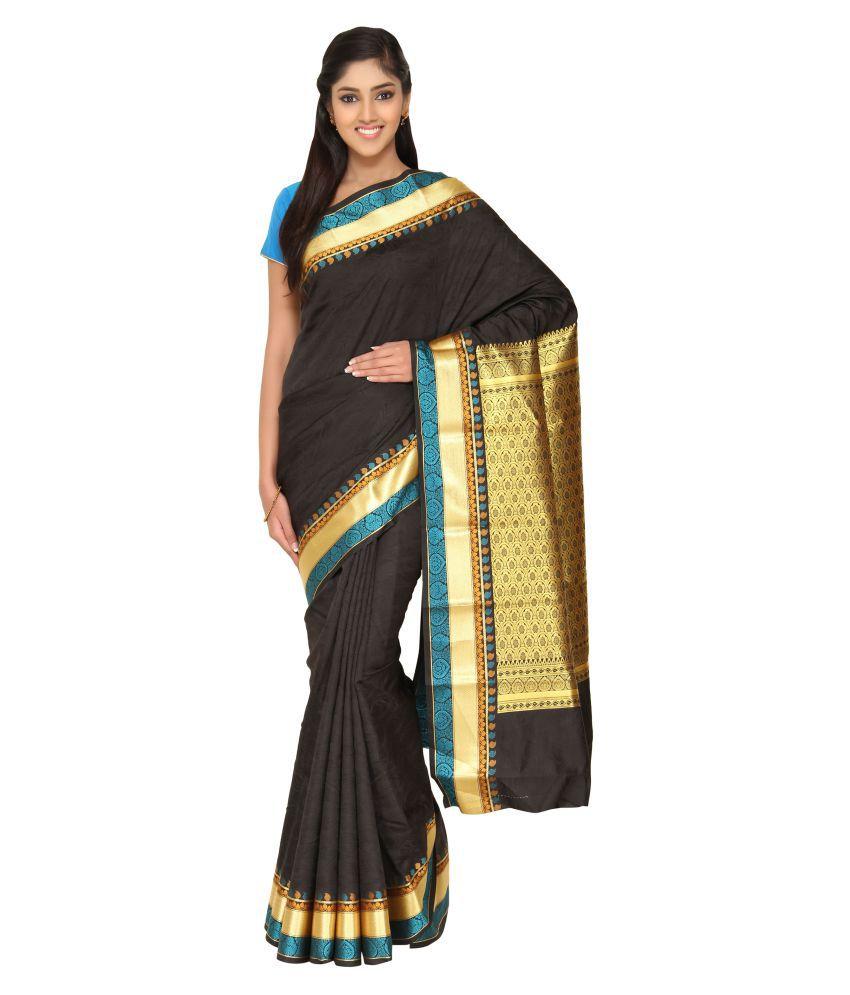 The Chennai Silks Black Cotton Silk Saree