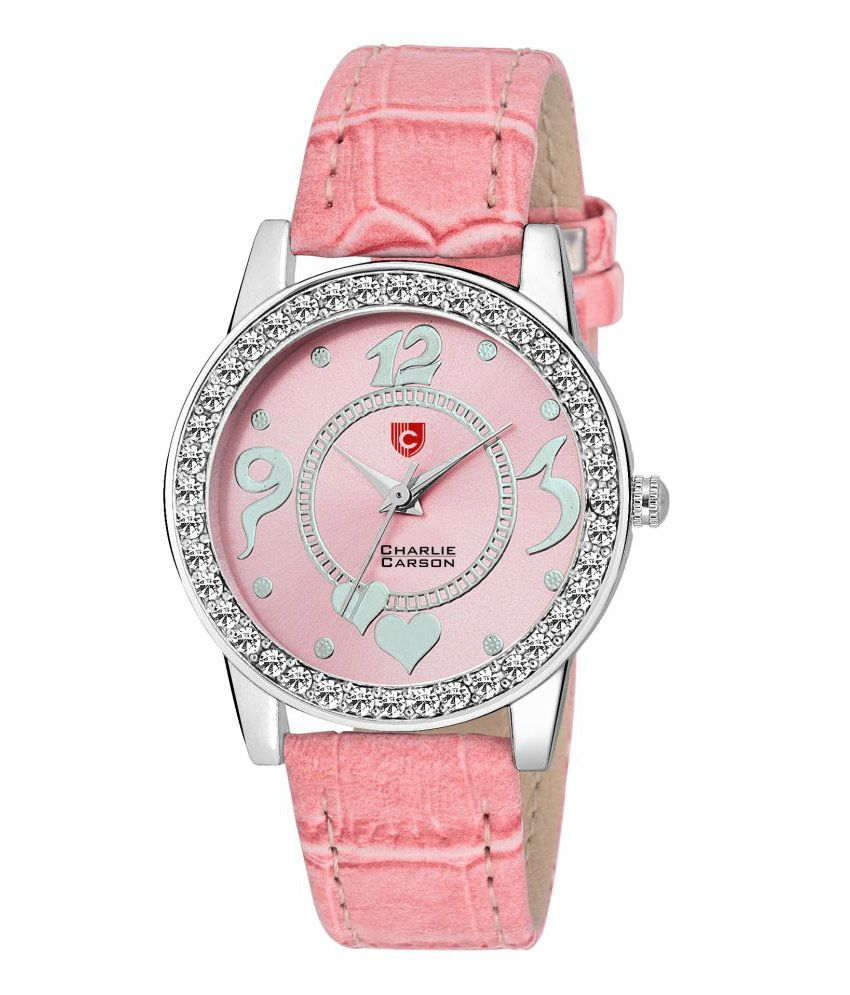 Charlie Carson crystal studded pink dial watch - CC038G