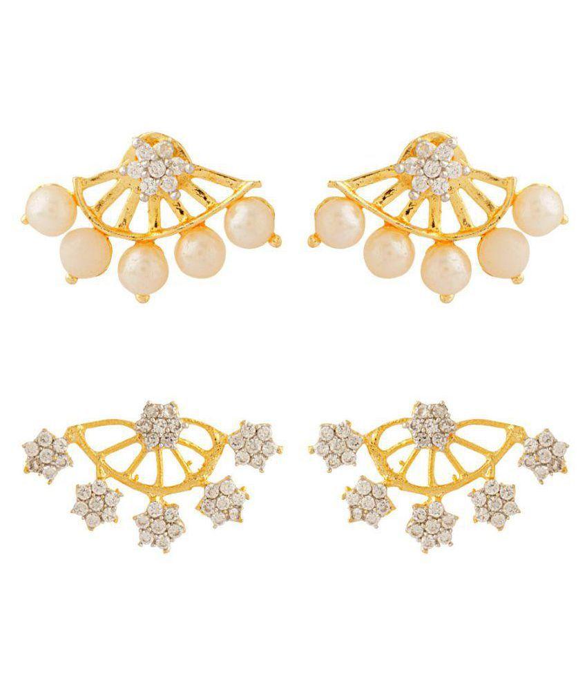 Voylla Flower With Leaf Designed CZ Embellished Earrings