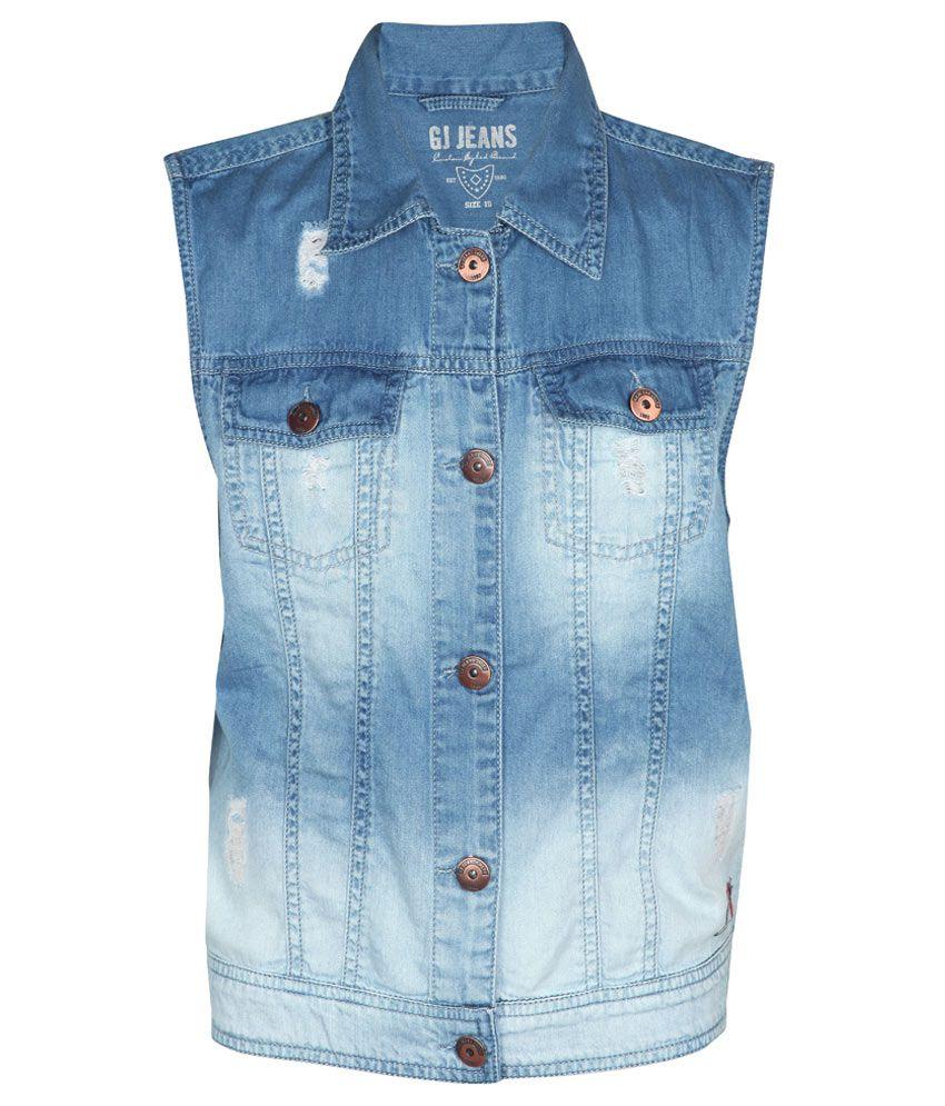 Gini & Jony Blue Regular Fit Buttoned Denim Jacket