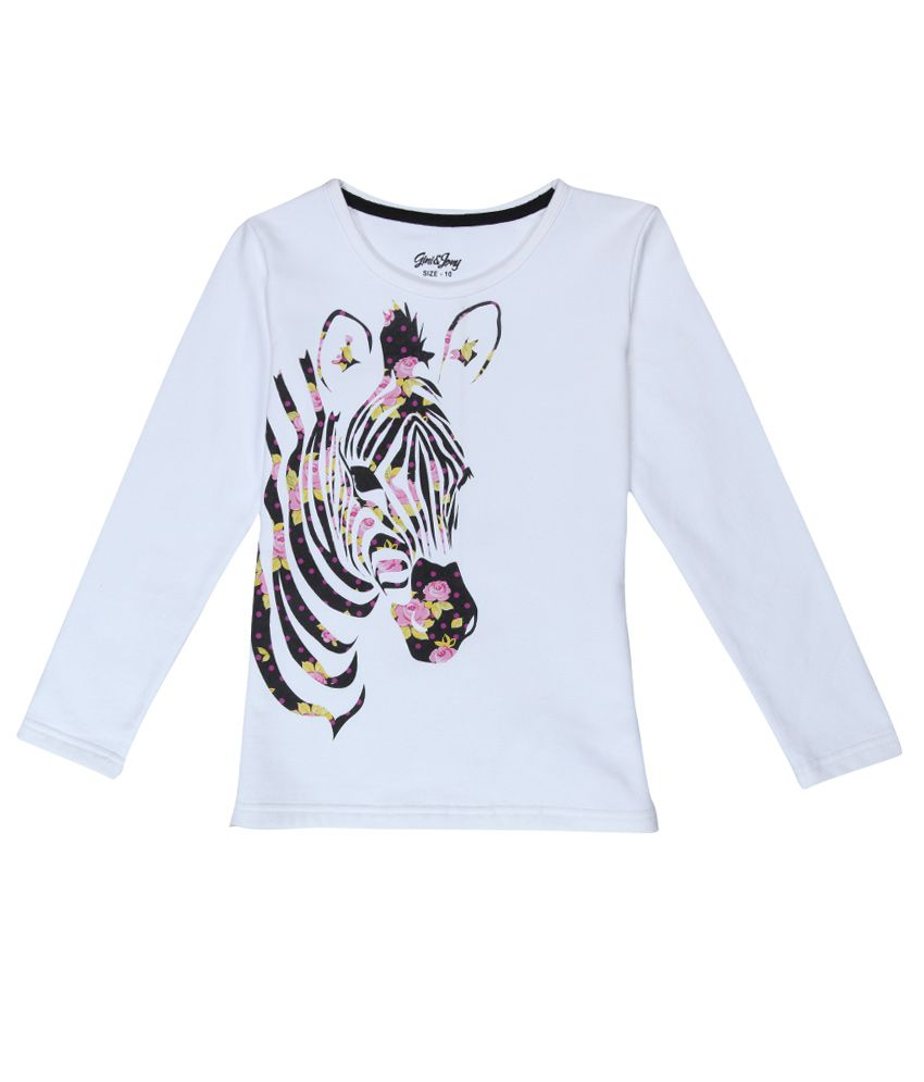 Gini & Jony White Printed Regular Fit Sweatshirt