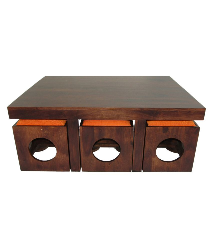 Coffee Table Stool Woodfaber 6 Seater Coffee Table Stool Set Buy Woodfaber 6 Seater
