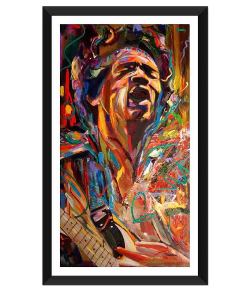 Tallenge The Spirit of Jimi Hendrix Paper Art Prints With Frame Single Piece