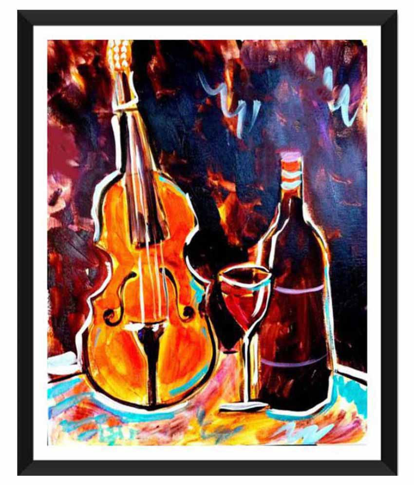 Tallenge Violin and Vino Paper Art Prints With Frame Single Piece