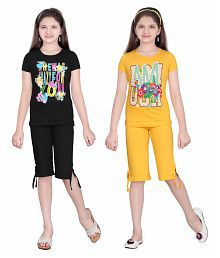 Sini Mini Multicolor Top and Capri Set - Pack of 2