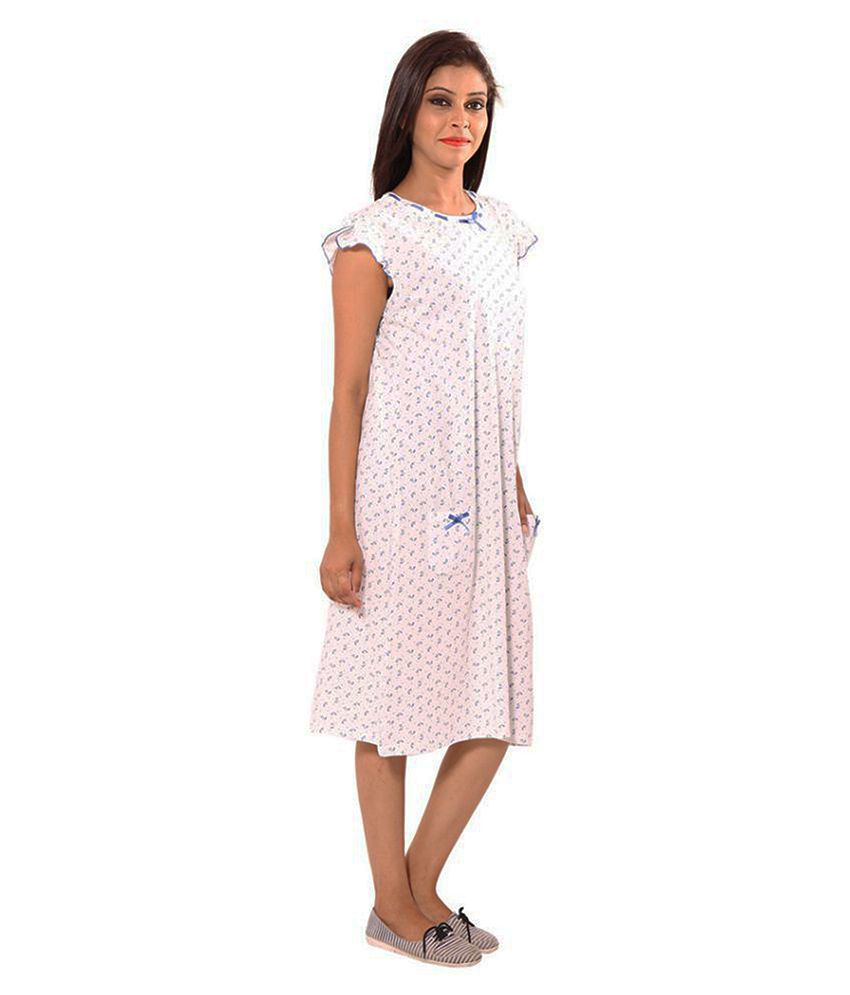 Buy 9Teenagain White Cotton Nighty   Night Gowns Online at Best ... ca16830d8