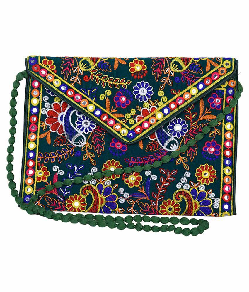 Decot Paradise Green Cotton Sling Bag