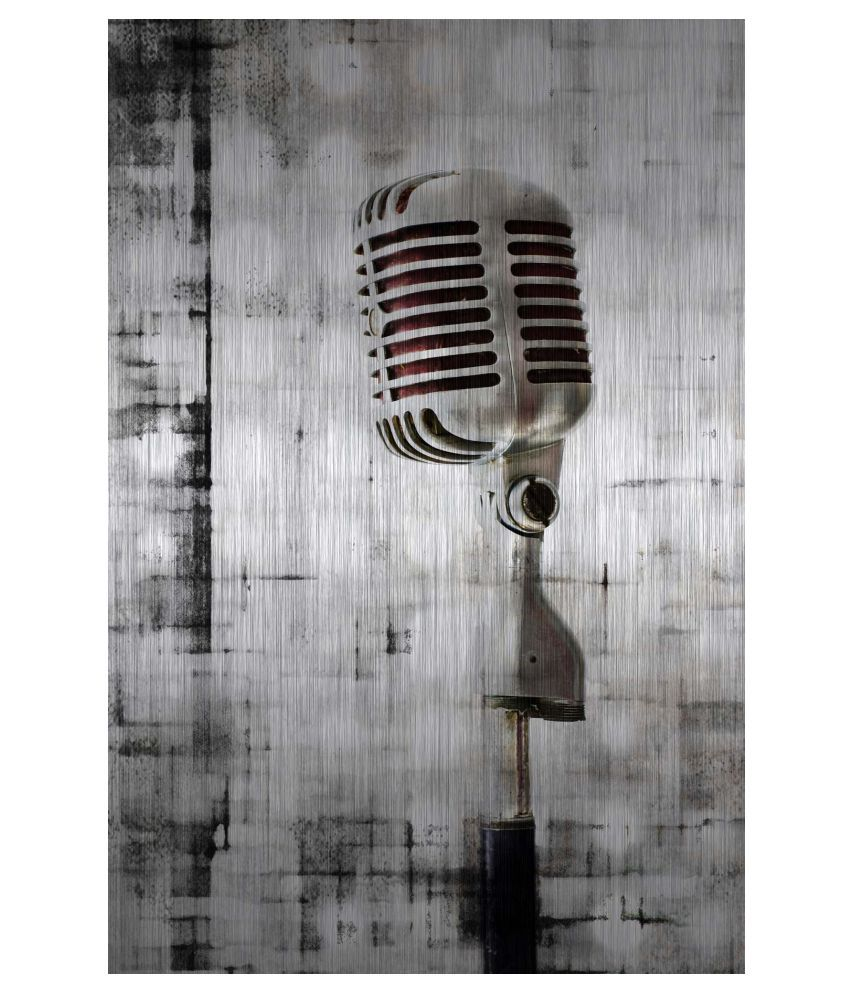 Tallenge Brushed Metal Microphone Gallery Wrap Canvas Art Prints With Frame Single Piece