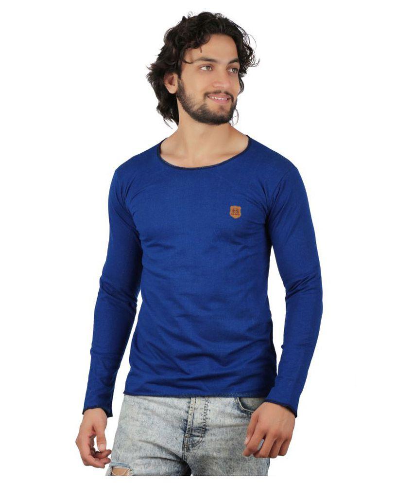 Black and Denim Blue Round T-Shirt