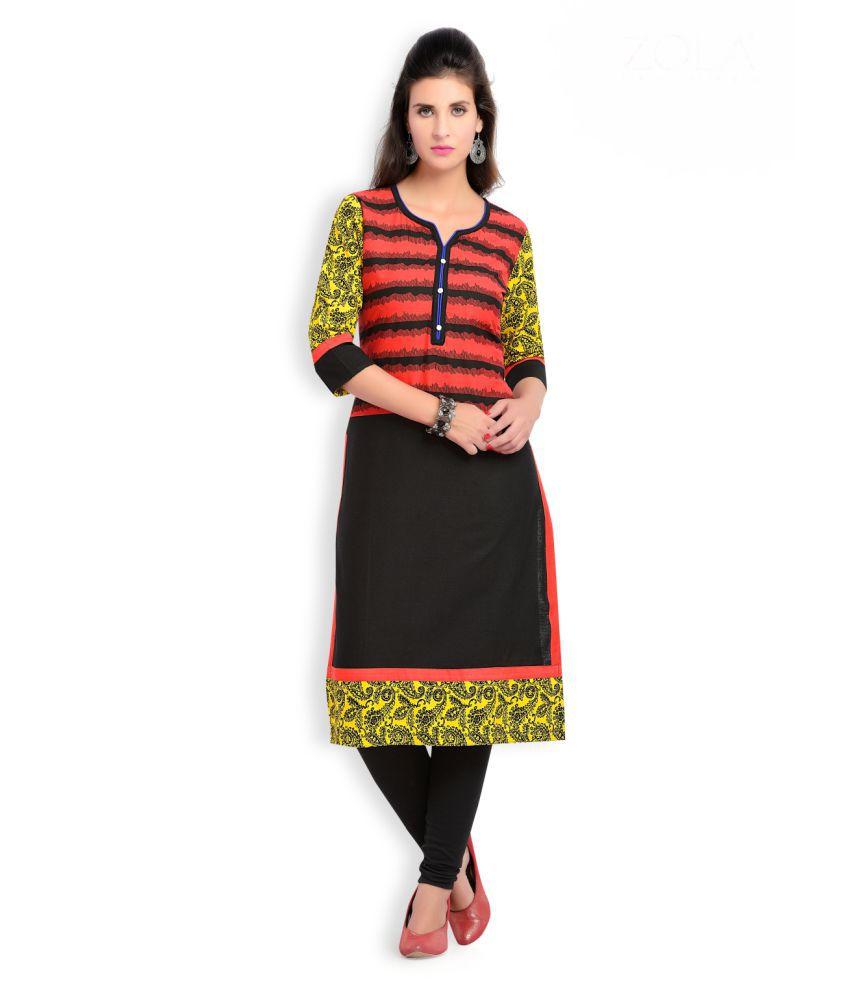 Zola Multicoloured Cotton Straight Striped Kurti