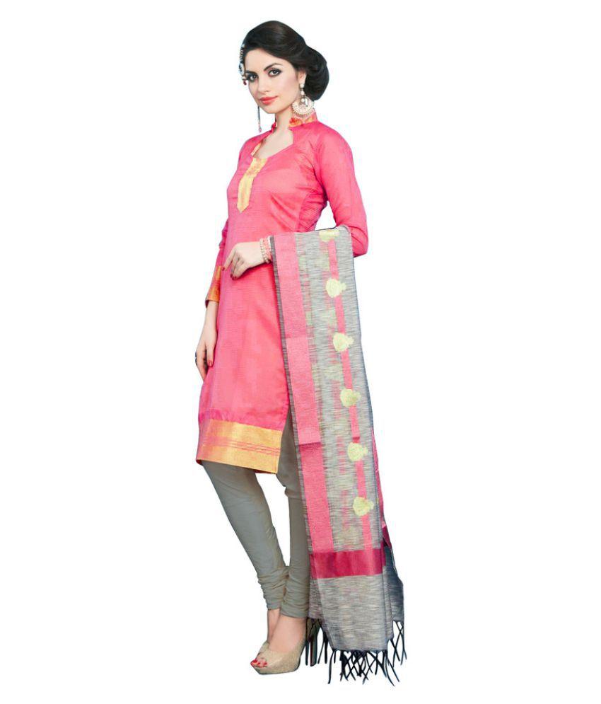 Snowfall Pink Banarasi Silk Dress Material - Buy Snowfall Pink ...