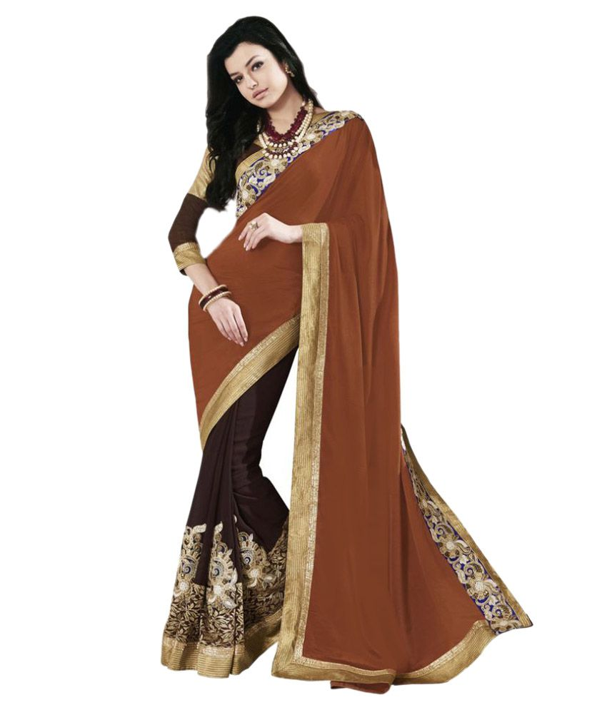 Suchi Fashion Brown Georgette Saree