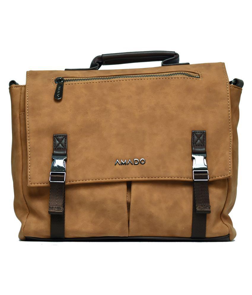 Amado Brown Faux Leather Satchel Bag