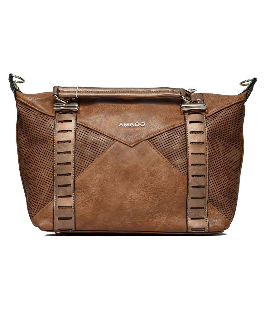 Amado Brown Faux Leather Shoulder Bag
