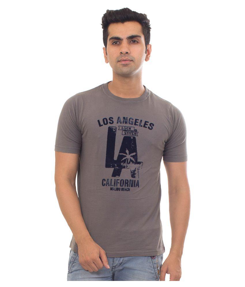 Lockstitch Grey Round T-Shirt