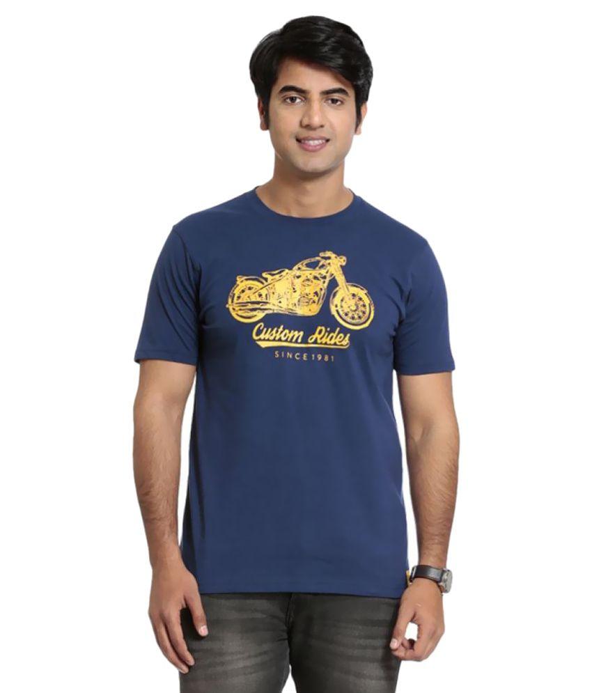 Seven Blue Polyester T-Shirt