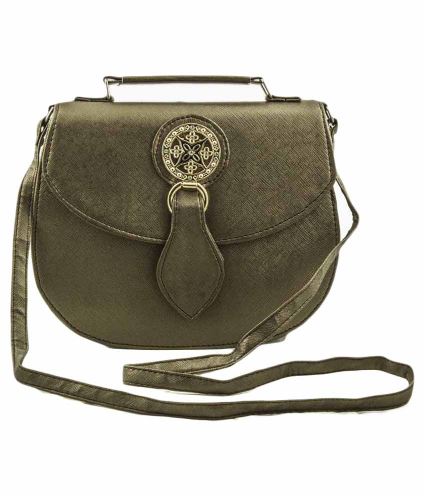 Voaka Green Faux Leather Sling Bag