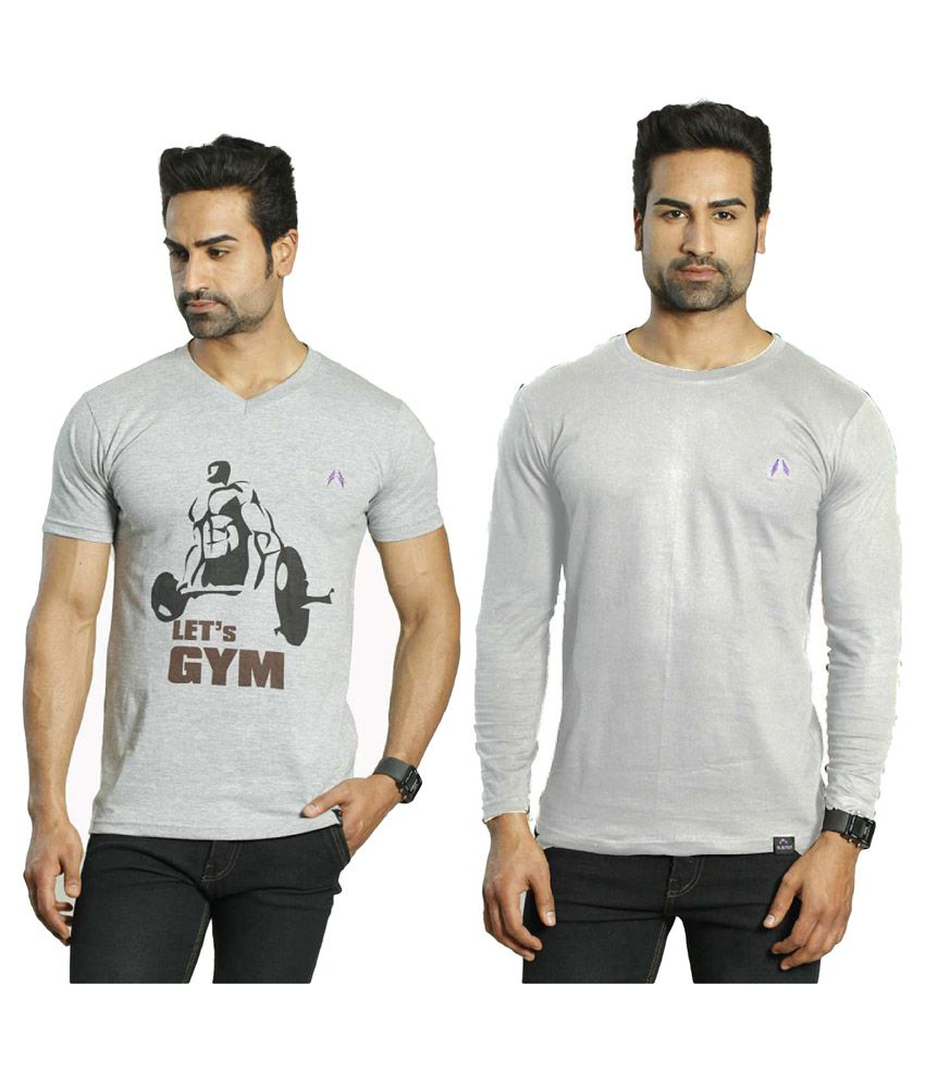 Albiten Grey V-Neck T-Shirt Pack of 2