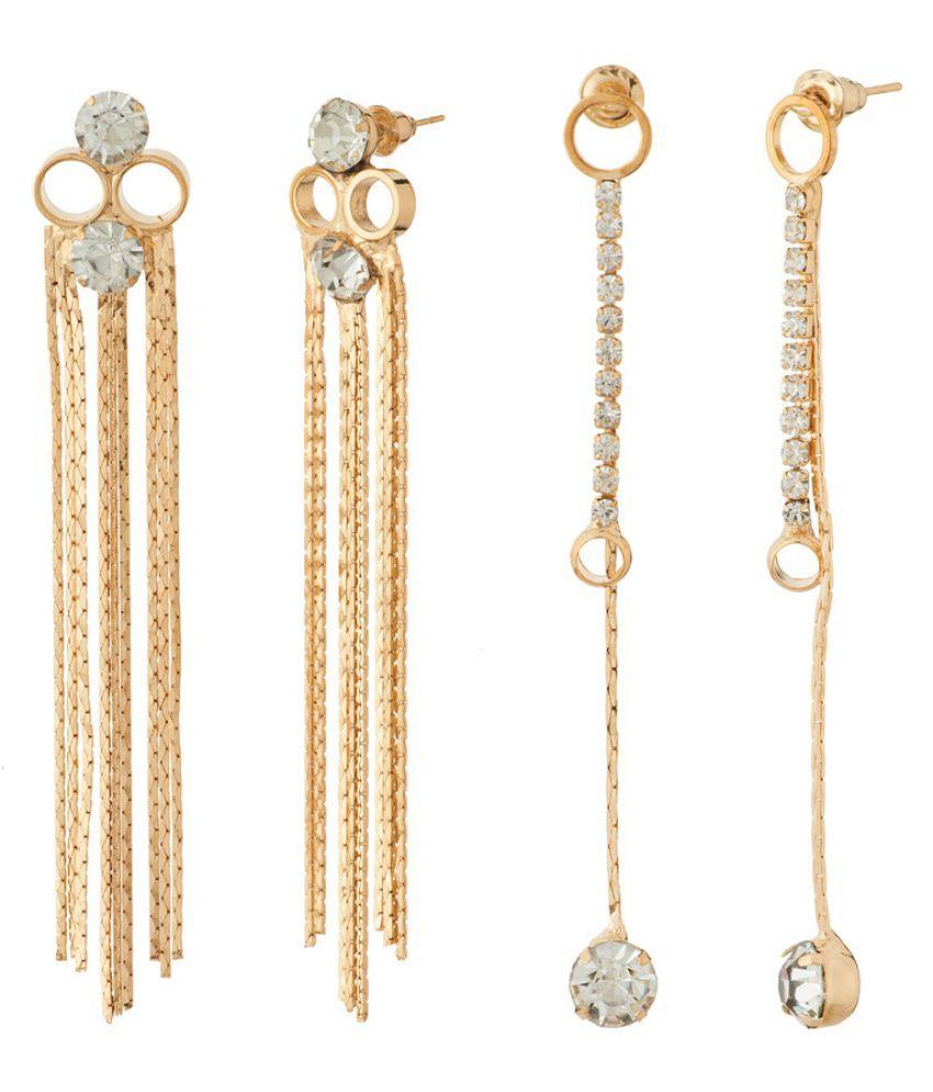 Jazz Jewellery Golden Hanging Earrings - Pack of 2