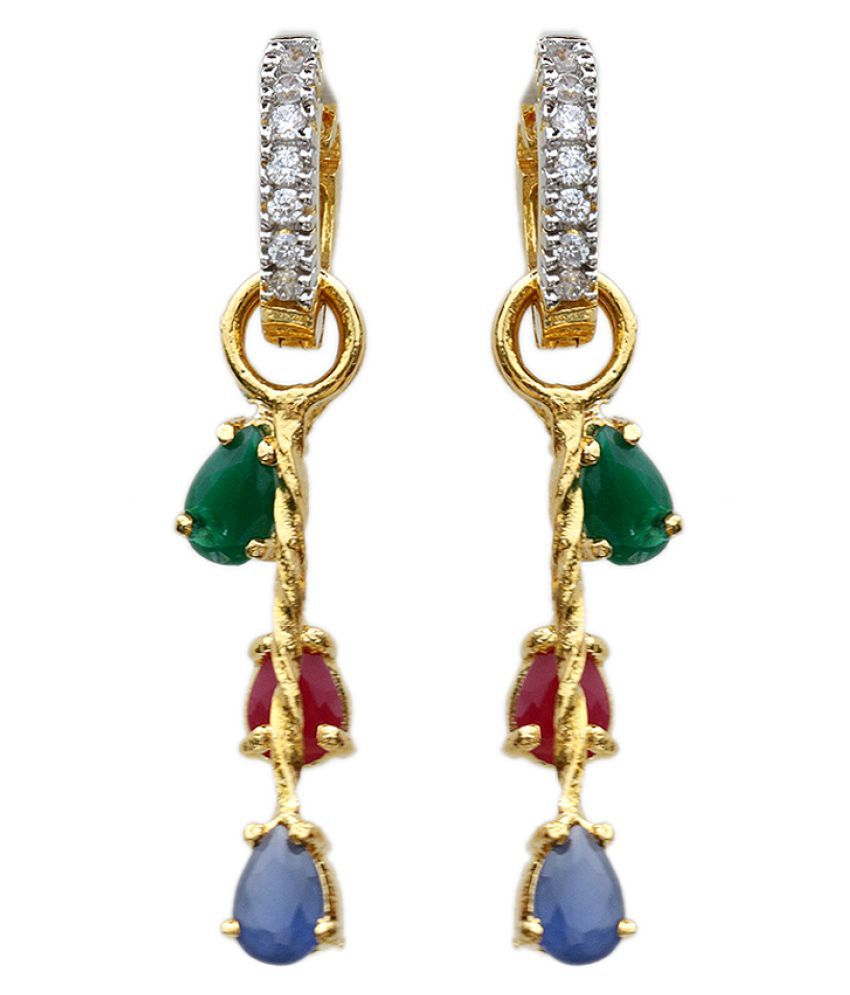 Tyllo Multi-Color Stone Gold Plated Earring for Women