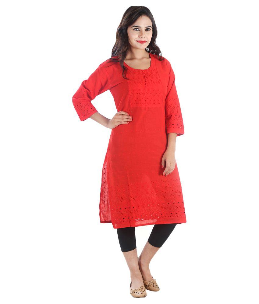 R K FASHION Red Cotton Straight Hand Embroidered Kurti