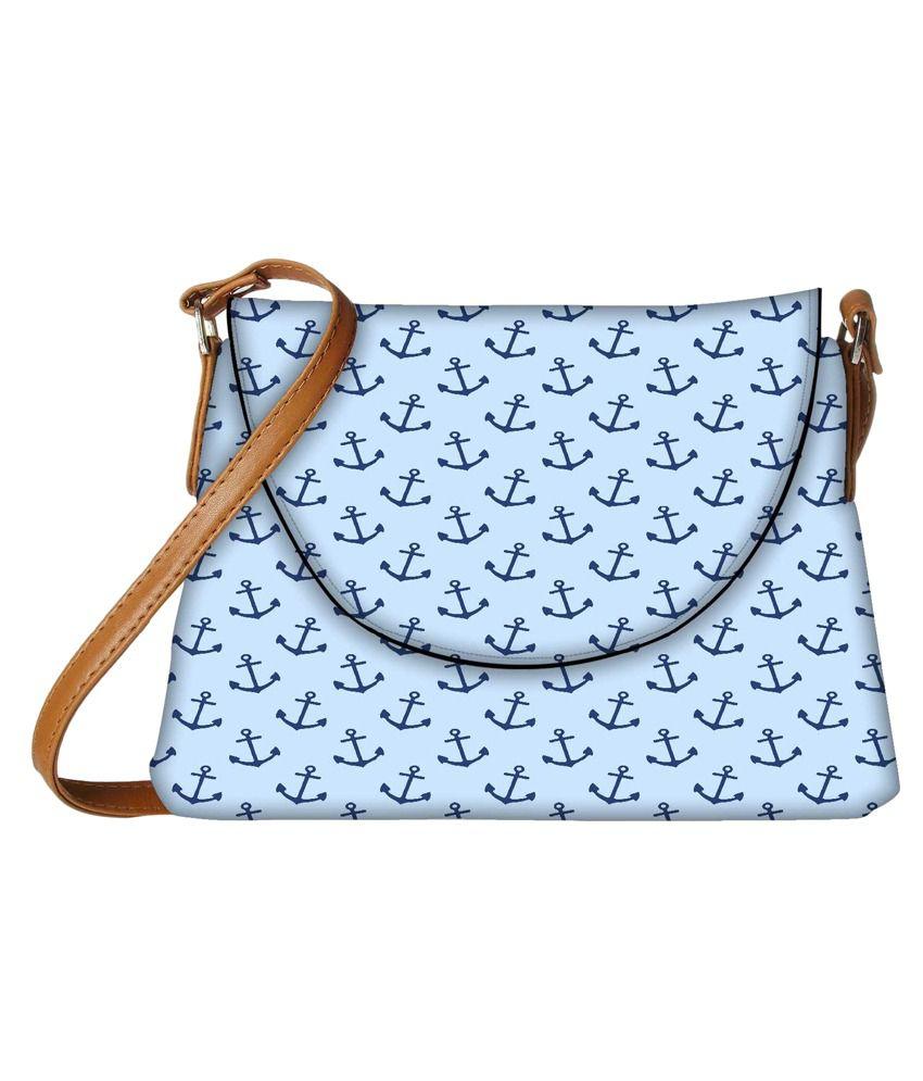 Snoogg Blue Fabric Sling Bag