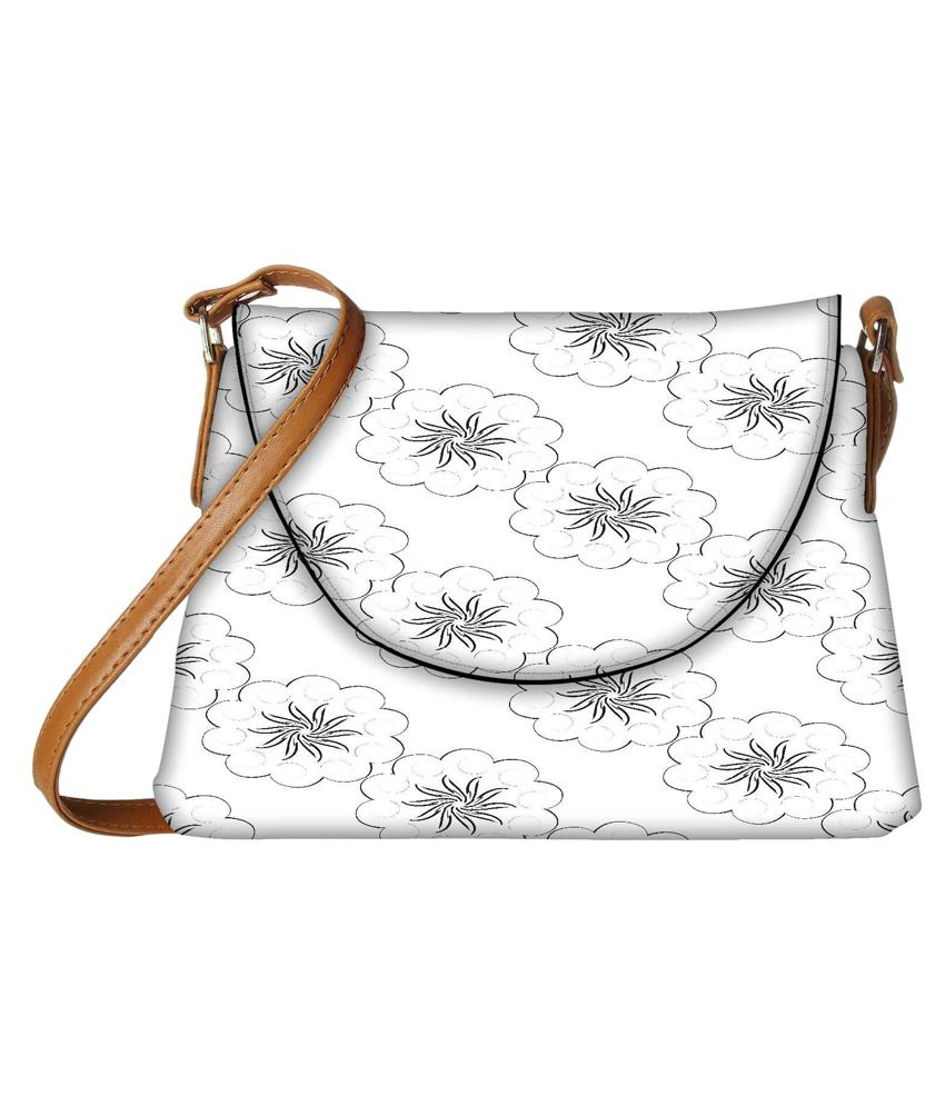 Snoogg White Fabric Sling Bag