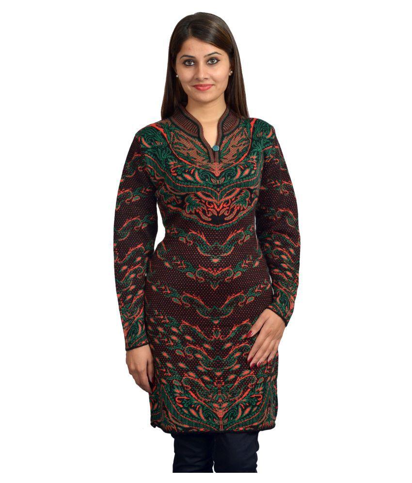 TAB91 Multicoloured Woollen Straight Floral Kurti