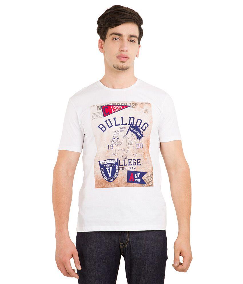 Locomotive White Round Neck T Shirt