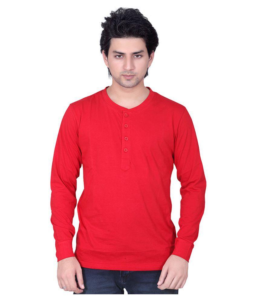Lucfashion Red Henley T-Shirt