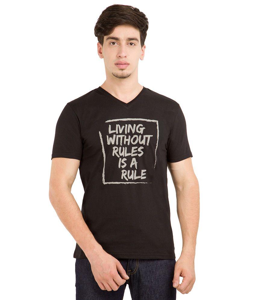 Locomotive Black V-Neck T Shirt