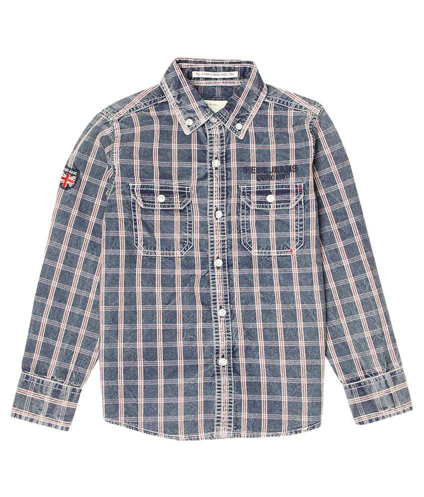 Pepe Navy Blue Checked Regular Fit Shirt
