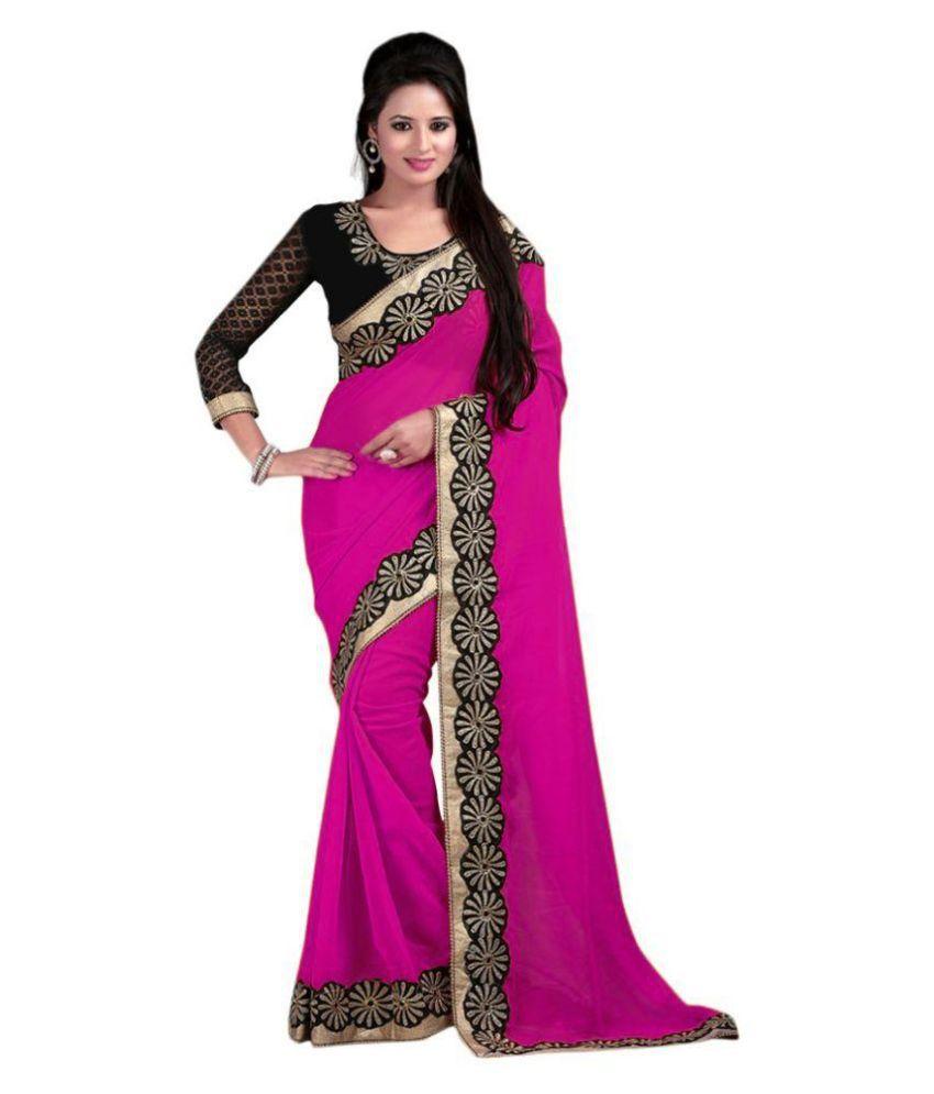 Bhuwal Fashion Pink Chiffon Saree