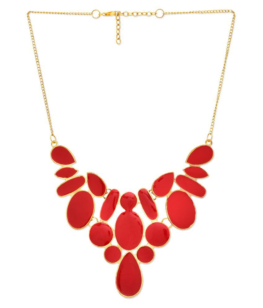 Fedexo Moonstone Studded Red Necklace
