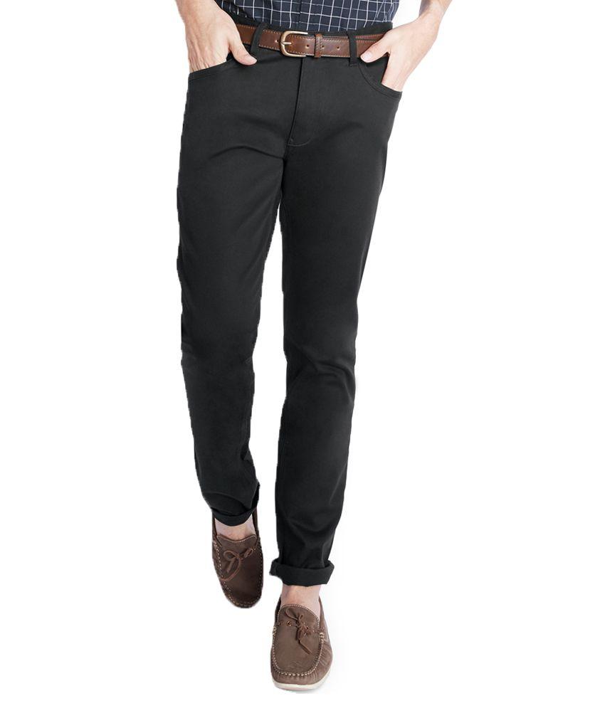 Parx Black Slim Flat Trouser