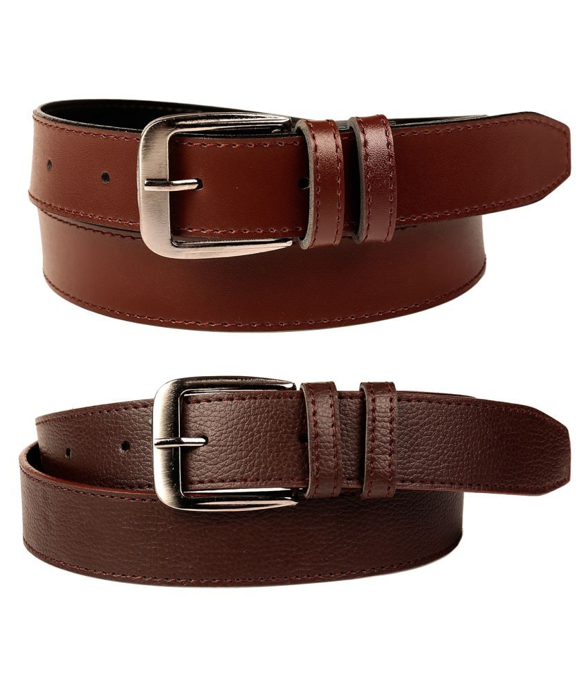 Fedrigo Brown PU Casual Belts - Pack Of 2