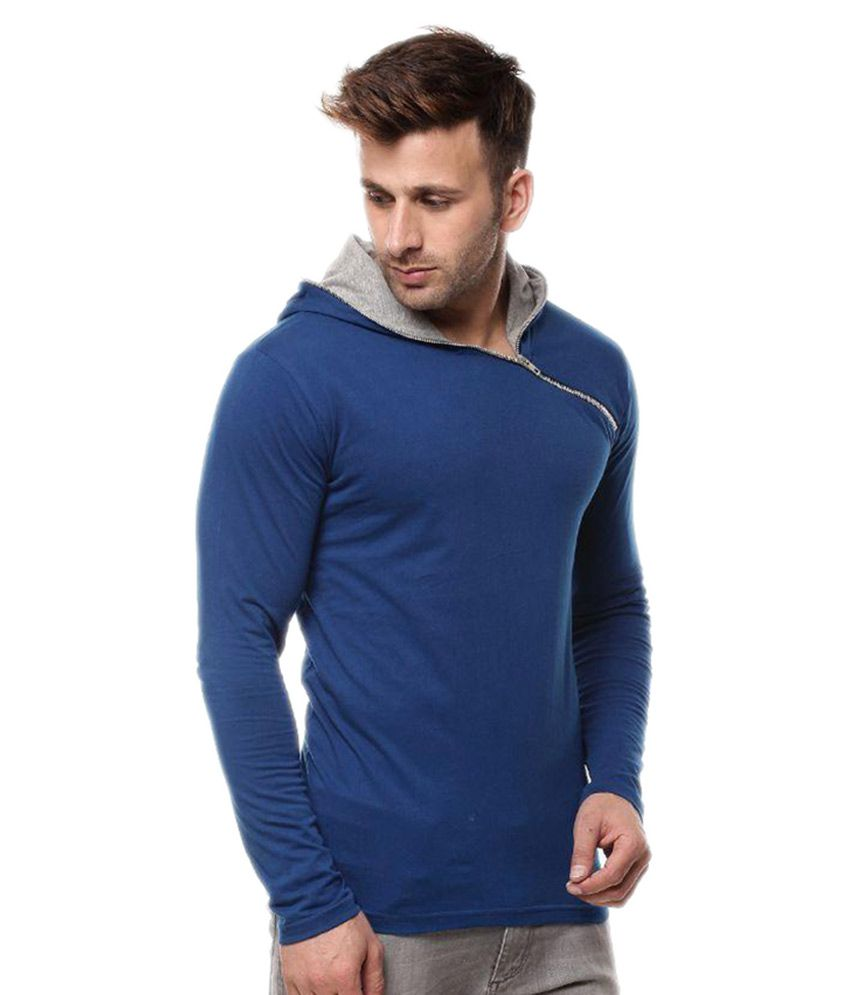 Gritstones Blue Hooded T-Shirt