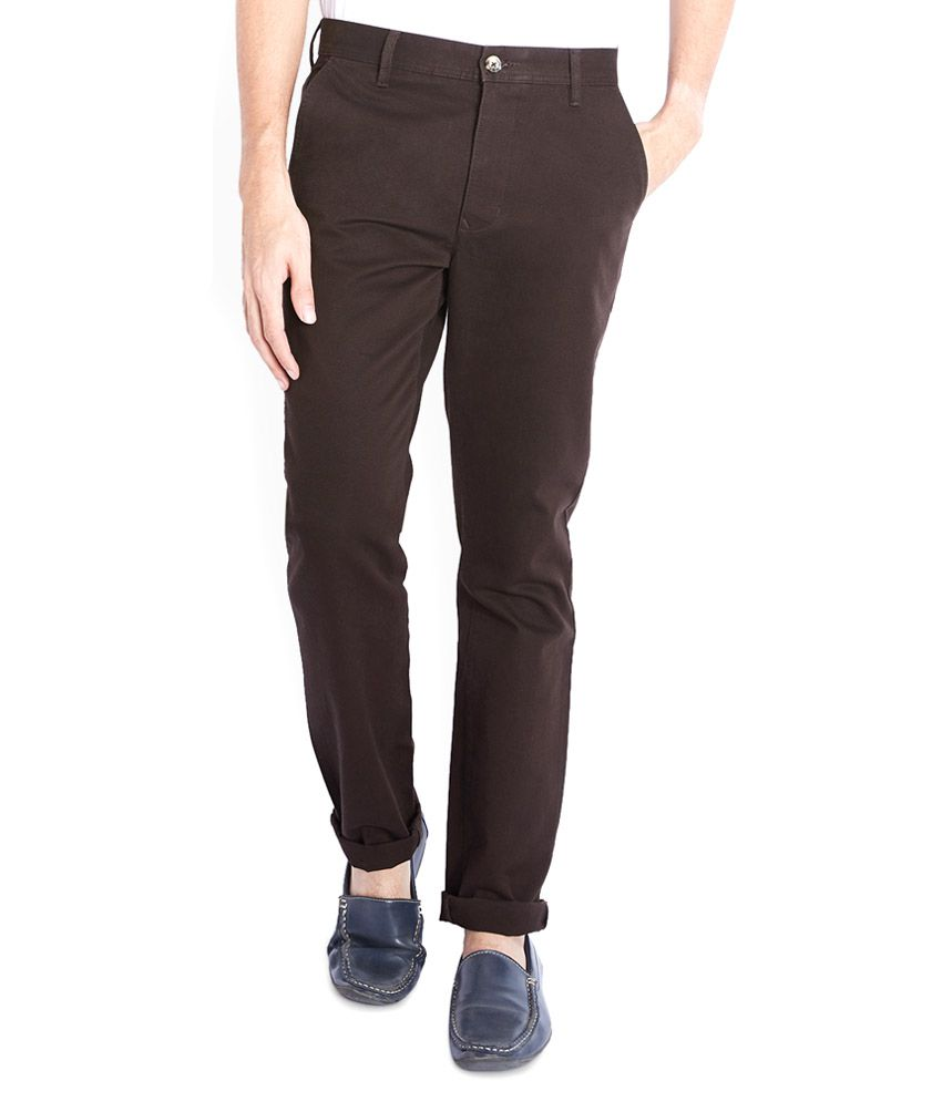 Parx Brown Slim Flat Trouser